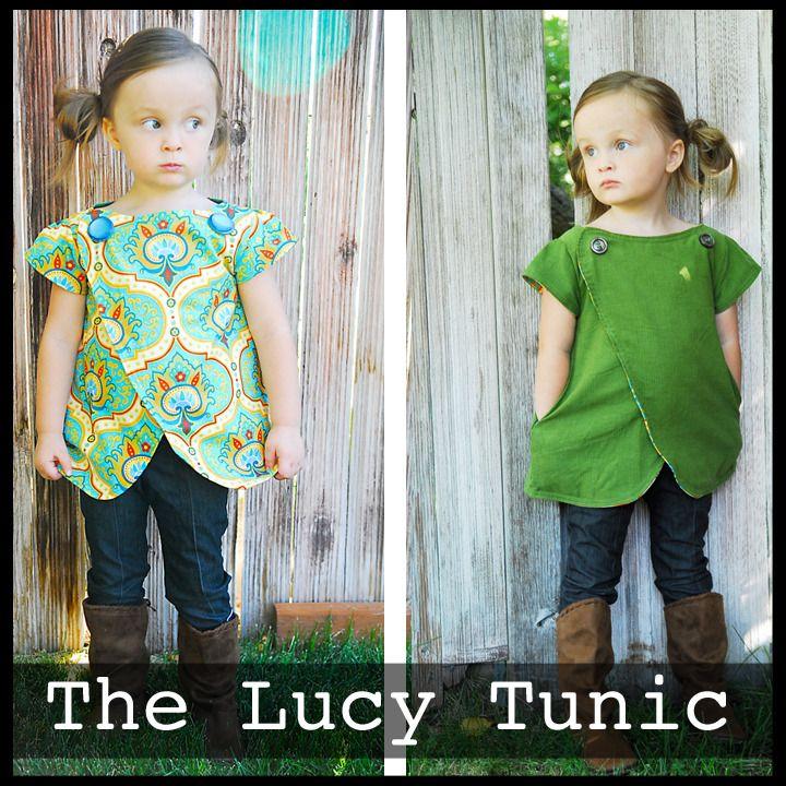 Patron pdf d'une tunique pour enfant (12m-6a) :à coudre dans un vêtement des parents ! - Lucy Tunic Size 12m-6y, sew it in one of your clothes you don't wear anymore!