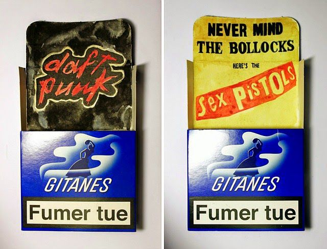 French Artist Paints Classic Album Covers on Empty Cigarette Packs
