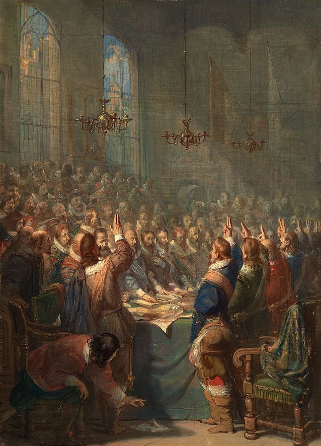 Barend Wijnveld (1820–1902) - Anno 1648 - Peace of Munster - 1897 The Peace of Münster was a treaty between the Dutch Republic and Spain signed on January 30, 1648. It was a landmark treaty for the Dutch Republic and one of the key events in Dutch...
