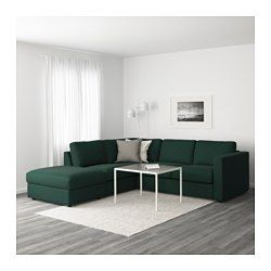 VIMLE Sectional, 4-seat corner, with open end, Gunnared dark green - with open end/Gunnared dark green - IKEA