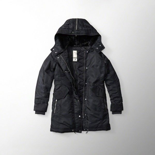 Abercrombie & Fitch Shiny Parka Puffer Jacket ($200) ❤ liked on Polyvore featuring outerwear, jackets, black, parka jacket, abercrombie fitch jacket, puffy jacket, faux parka jacket and shiny puffer jacket