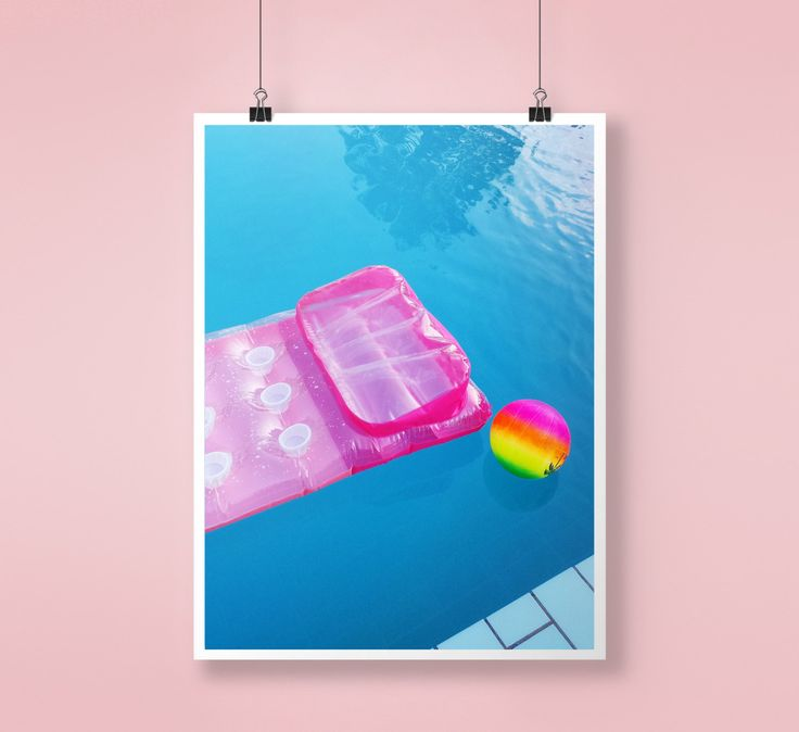 Pink, Mattress, Fun colorful, Water, Wall Decor, Pool Art, Abstract Large Printable Poster, Digital Download, Modern, Minimalist, Blue by PrintingDots on Etsy