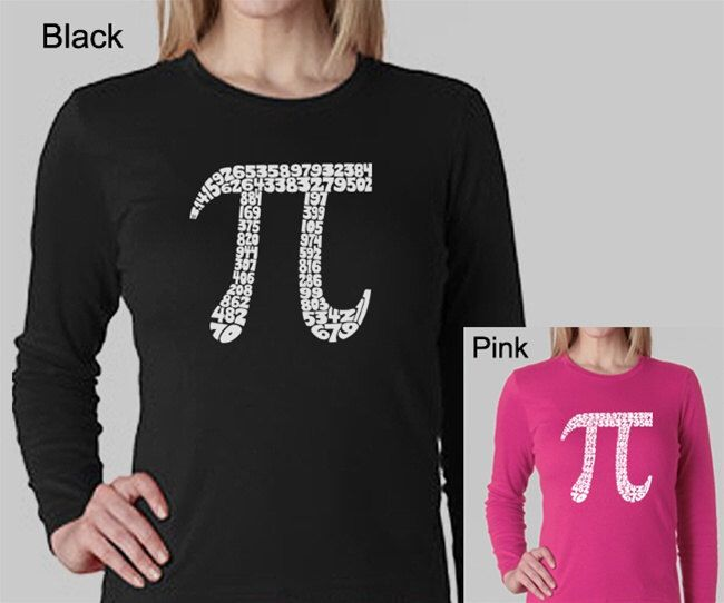 Women's Long Sleeve Shirt - Created using The First 100 Digits of Pi by lapopart on Etsy https://www.etsy.com/listing/175376393/womens-long-sleeve-shirt-created-using