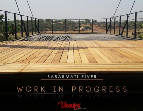 Quite often the laying of decking at a riverside is fraught with difficulties due to either the slope of the bank, or due to the surface. The work required to ensure your decking will be stable and long lasting can quite often be complex. Here is the picture of our latest Brazilian Garapa Decking project at the Sabarmati River to show what goes on behind (under!) the scenes! ‪#‎BeautexAtWork‬ ‪#‎WIP‬ ‪#‎BeautexLuxuryConcepts‬ ‪#‎since1963‬ ‪#‎SabarmatiRiver‬ ‪#‎designer‬ ‪#‎Decking‬ ‪