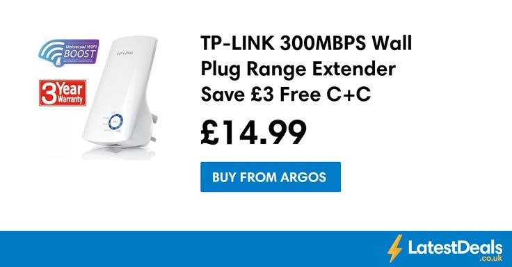 TP-LINK 300MBPS Wall Plug Range Extender Save £3 Free C+C, £14.99 at Argos
