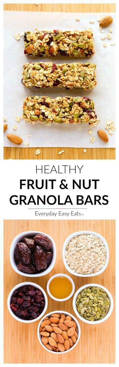 No-bake, 6-ingredient, Healthy Fruit & Nut Granola Bars! | http://EverydayEasyEats.com