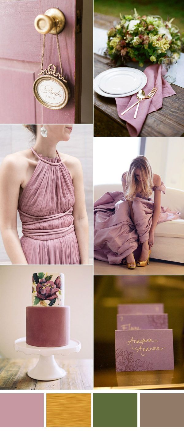 vintage mauve and gold wedding ideas                                                                                                                                                                                 More