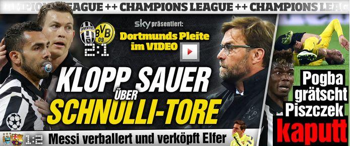 Juventus Turin - Borussia Dortmund 2:1 | Klopp sauer über Schnulli-Tore http://www.bild.de/sport/fussball/champions-league-spiel/klopp-sauer-ueber-schnulli-tore-39909062.bild.html Pogba grätscht Piszczek kaputt http://www.bild.de/sport/fussball/champions-league-achtelfinale/pogba-graetscht-piszczek-kaputt-39910590.bild.html ManCity - FC Barcelona 1:2 | Messi verballert und verköpft Elfer http://www.bild.de/sport/fussball/champions-league-spielbericht/suarez-beisst-city-weg-39910074.bild.html