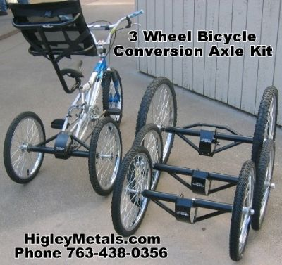 Axle kit to convert any bike any trike adult tricycles special needs three 3 wheel bicycles