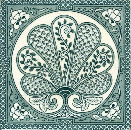 """Minton Hollins, c 1900-1910. Well-printed 8"""" tile in monochrome color in the Arts and Crafts style."""