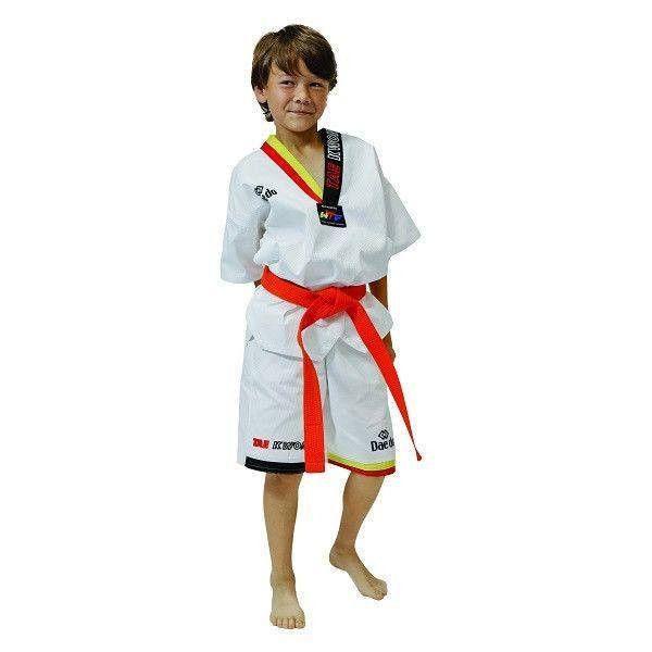 Dobok Taekwondo de Verano para Niños (Amarillo/Rojo) - €17.00   https://soloartesmarciales.com    #ArtesMarciales #Taekwondo #Karate #Judo #Hapkido #jiujitsu #BJJ #Boxeo #Aikido #Sambo #MMA #Ninjutsu #Protec #Adidas #Daedo #Mizuno #Rudeboys #KrAvMaga #Venum