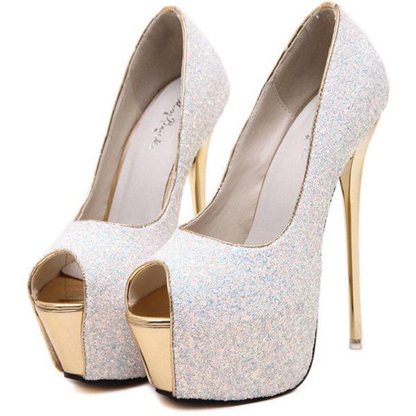 Silver Glitter Peep Toe Platform
