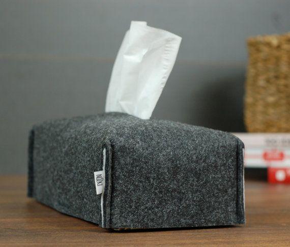Elegant Kleenex box cover made from dark grey felt by popeq
