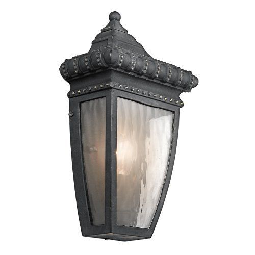 Kichler lighting kichler 49130bkg venetian rain 1 light outdoor wall lantern black with gold