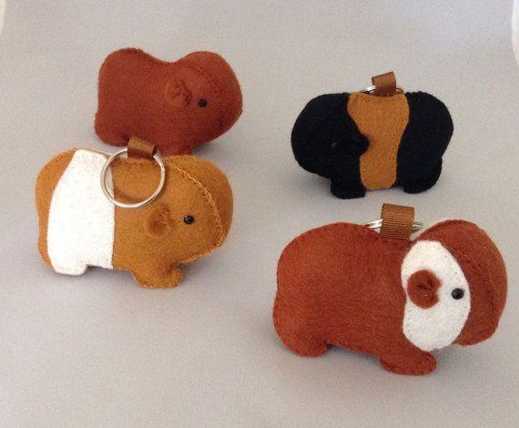 Guinea Pig Keyring Pet Bag Charm Animal Lover gift by BellaandRoo