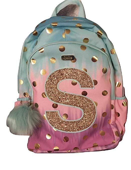 30b3c19ab1c Justice School Backpack Dot Ombre Foil Letter Initia (S) Review ...