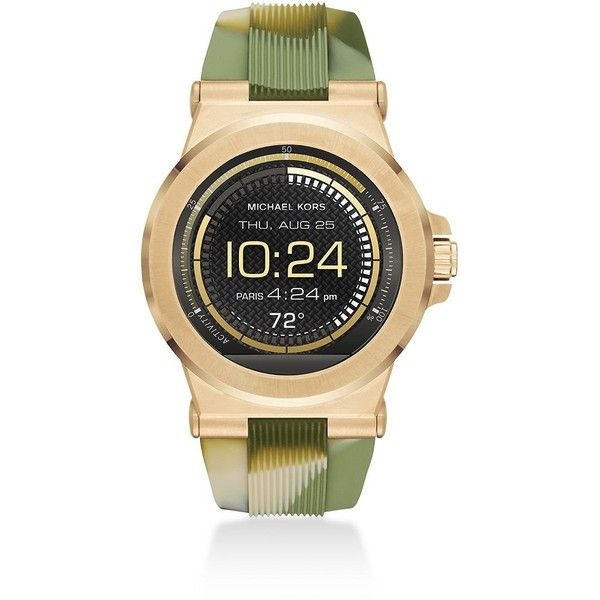 Michael Kors Access Dylan Camo Silicone Watch Strap ($40) ❤ liked on Polyvore featuring jewelry, watches, fine jewelry, camo jewelry, camo watches, michael kors and green watches
