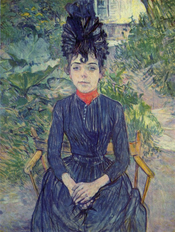 Seated Woman in the Garden of Mr. Forest Justine Dieuhl, 1890  Henri de Toulouse-Lautrec
