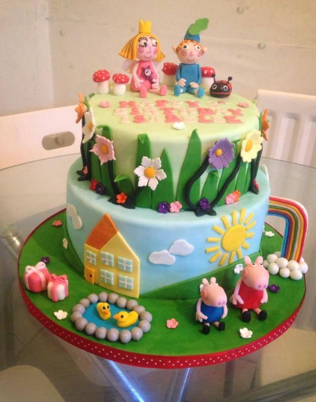 Peppa Pig/Ben and Holly. I designed this cake for a very ...