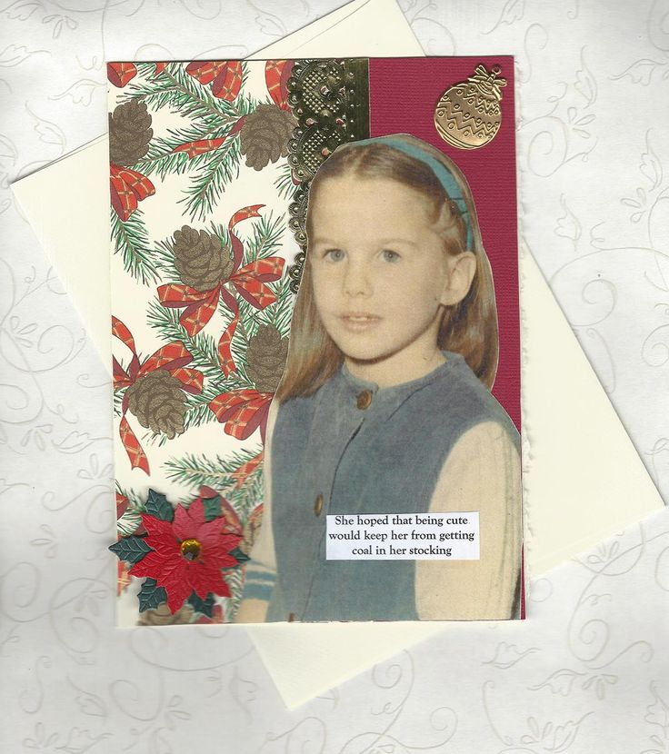 Silly Christmas Card for Conceited People Vintage Style - Am I Cute Enough for Santa? - pinned by pin4etsy.com