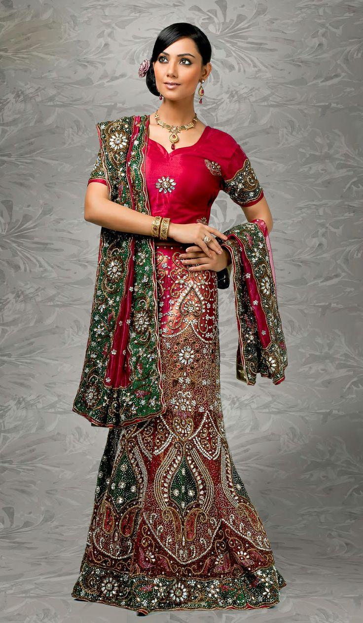 Indian Fashion Churidar Suits Designs Collection 2015 16: Crimson #Red Green #Net Fashion #Lehenga Choli