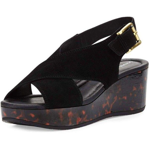 Donald J Pliner Sahar Crisscross Wedge Sandal ($72) ❤ liked on Polyvore featuring shoes, sandals, black, black platform sandals, platform wedge sandals, black wedge sandals, strappy platform sandals and wedge sandals