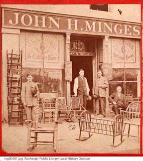 John H. Minges store, Rochester, N.Y. Stores -- New York (State) -- Rochester Furniture stores --  Minges Bros. (Firm) Stereograph