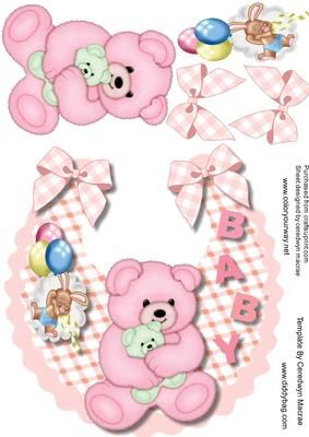 Lovely Baby girl Bib and pink bear on Craftsuprint - Add To Basket!