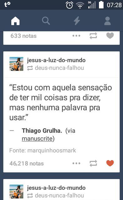 Poema e Versos: Thiago Grulha  -   Frases Tumblr
