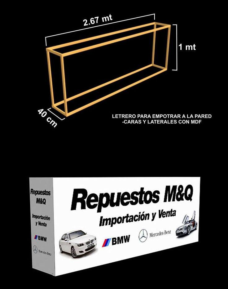 Propuesta de letrero para calle M&Q,con bastidor de Madera y aplicación de vinil autoadhesivo impreso en calidad fotografica