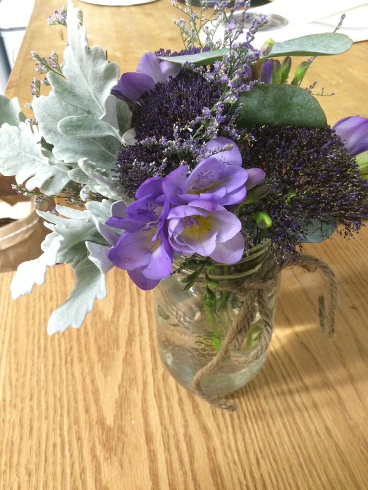 Beautiful purple & sage floral for a tasting