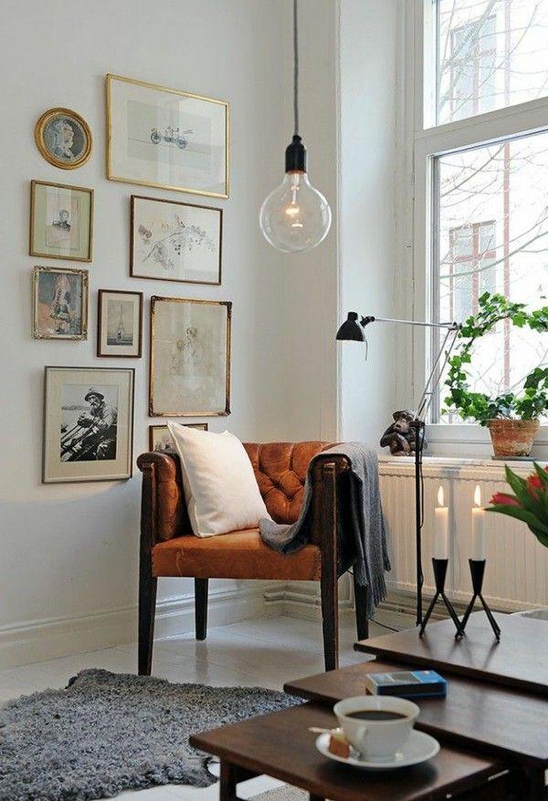 Retro armchair Braun design grey carpet candles hanging lamp