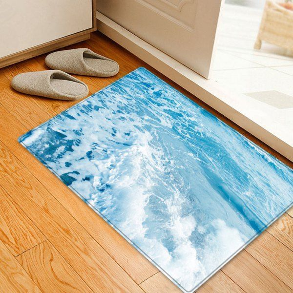 Sea Waves Pattern Anti-skid Indoor Outdoor Area Rug #outdoorsarea