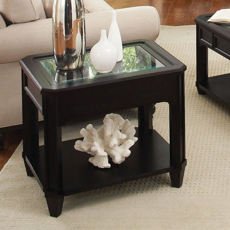 riverside farrington rectangular glass top end table black forrest birch hayneedle glass top end room
