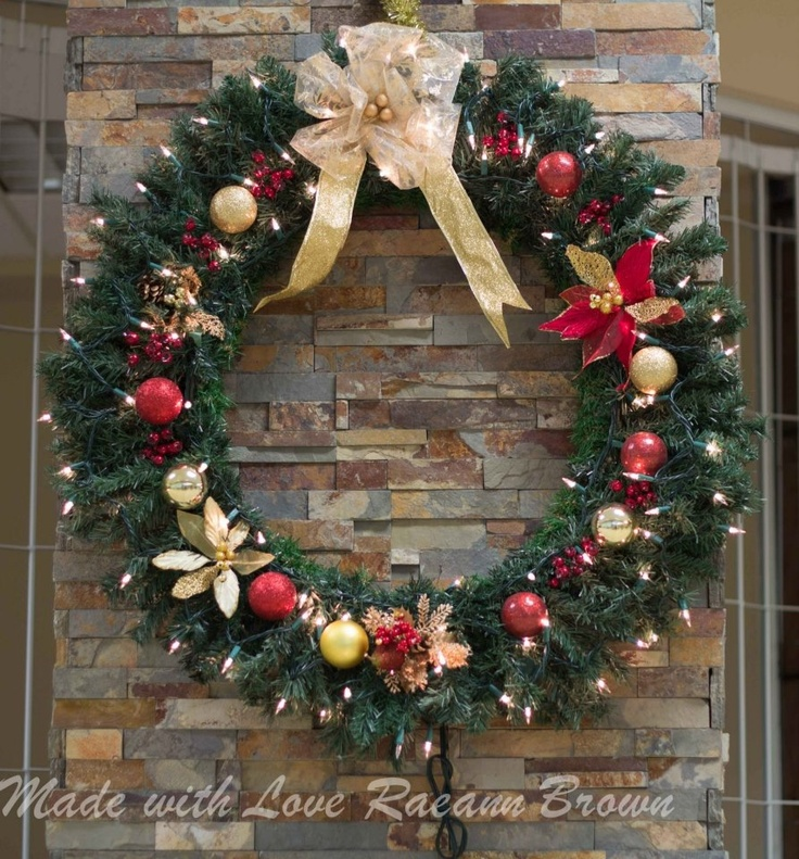 """48"""" Prelit wreath I made Christmas 2012 for  Goose Bay, NL Canada's airport"""