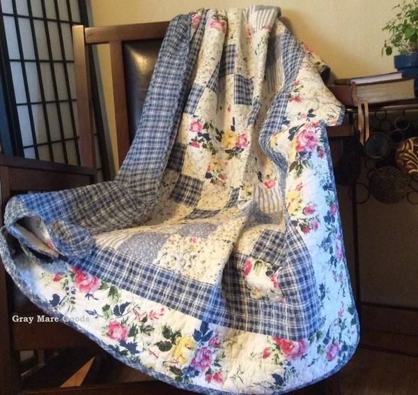 Cottage Throw Blanket, romantic yellow and pink roses with a shabby chic blue plaid by Gray Mare Goods  https://www.graymaregoods.com/products/cottage-throw-blanket-blue-quilt-ivory-shabby-chic-decor-quilts-for-sale-country