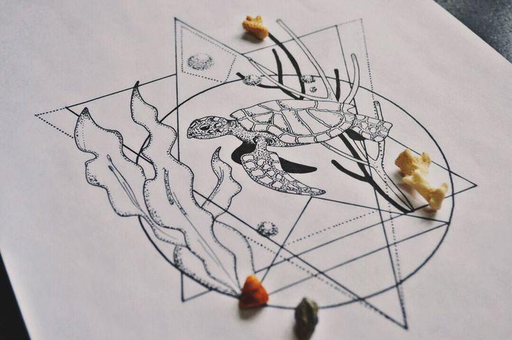 Turtle art drawing black sketch dotwork