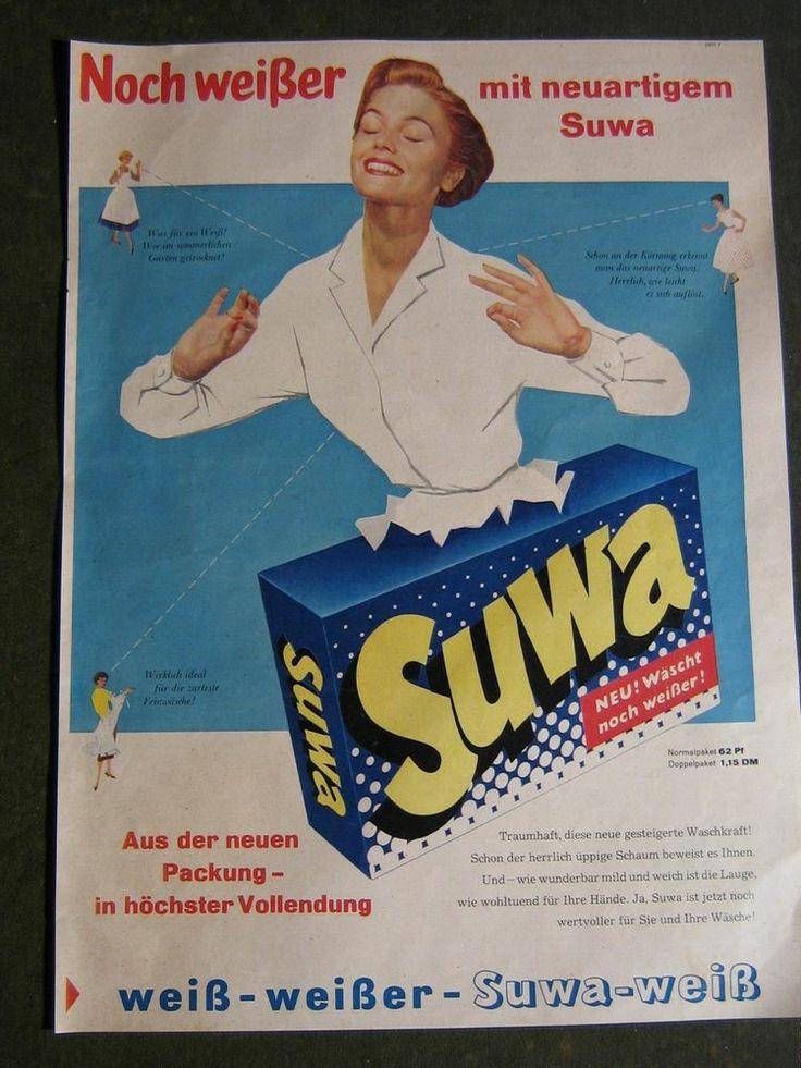 Suwa Waschmittel alte Werbung-Werbeblatt aus den 1960 Jahren-Nr.12