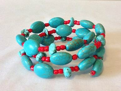 A personal favorite from my Etsy shop https://www.etsy.com/listing/243463053/turquoise-and-red-memory-wire-bracelet