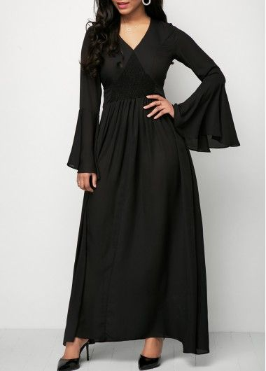 Ruched Waist Flare Sleeve Black Chiffon Dress on sale only US$33.48 now, buy cheap Ruched Waist Flare Sleeve Black Chiffon Dress at liligal.com