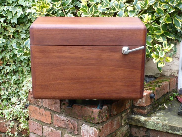 Vintage Restored Semi High Level Japkap Toilet Cistern in Mahogany - Brass & Copper