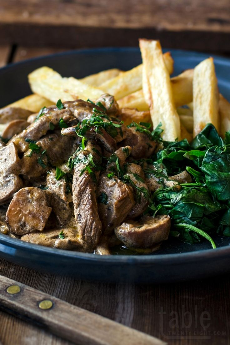 Beef stroganoff with oven-baked chips| table twenty eight