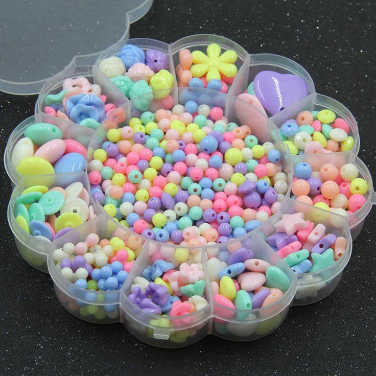 Venda quente Do Miúdo DIY Beads Crianças Doces Coloridos Contas Acrílicas Flor Kit Contas Fazer Jóias para Colar Pulseira Caixa de Embalagem(China (Mainland))