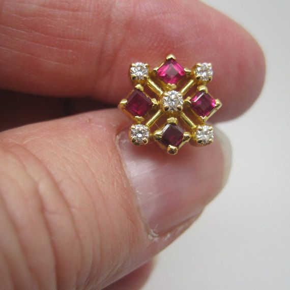 Vintage gold ruby and diamond earrings by redgreenandblue on Etsy