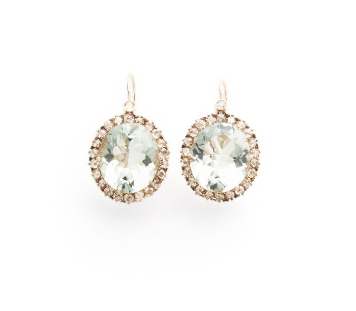 Green amethyst and rose cut diamond earrings--Cannon Lewis