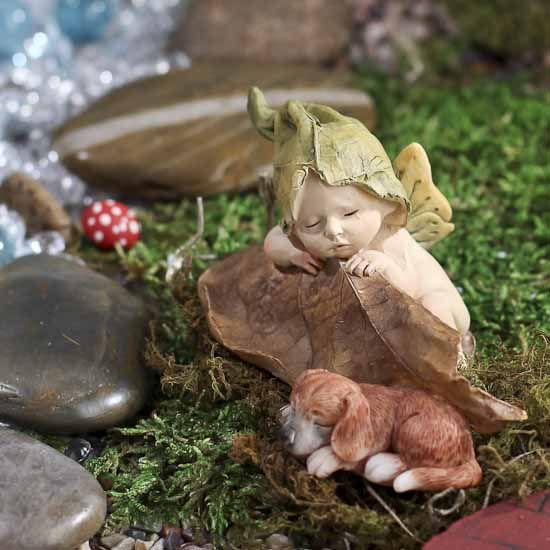 Miniature Sleeping Fairy Baby With Puppy Figurine #fairygarden