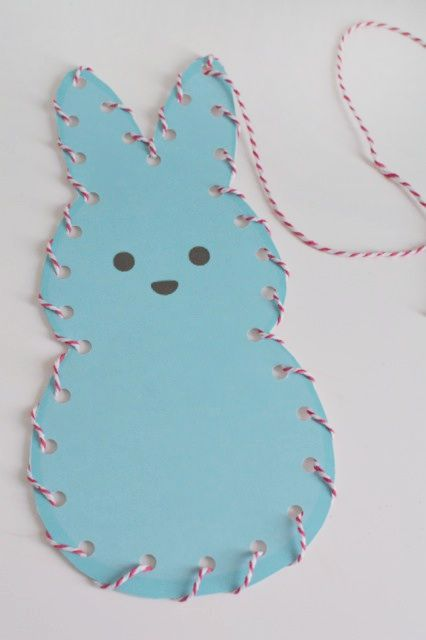 Lace and Trace Peeps printable. This will help develop hand-eye coordination, fine motor skills, cognitive skills and visual perception skills. Easter   Kids   Printable   Learning