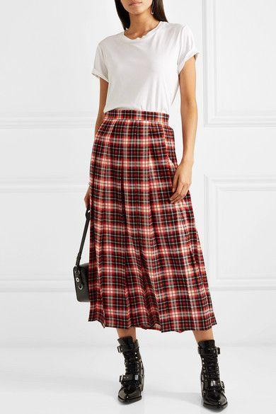 Red Pleated Tartan Crepe De Chine Midi Skirt – Red