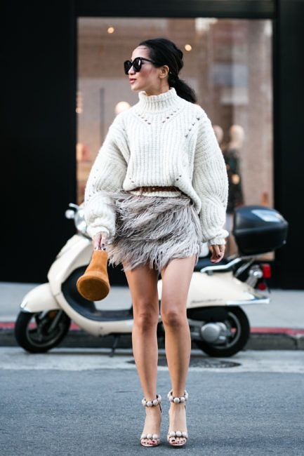 Texture Drama :: Contour sweater & Feather skirt