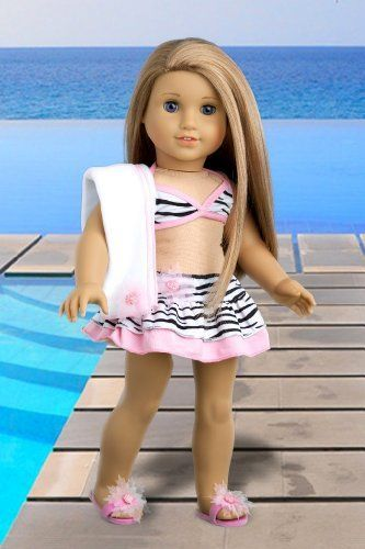 Fun with the Sun - 4 piece bikini outfit includes skirt, bikini top, matching flip flops and beach blanket - 18 Inch Doll Clothes  Price : $23.97 http://www.dreamworldcollections.com/Fun-Sun-matching-blanket-Clothes/dp/B00805H0T6
